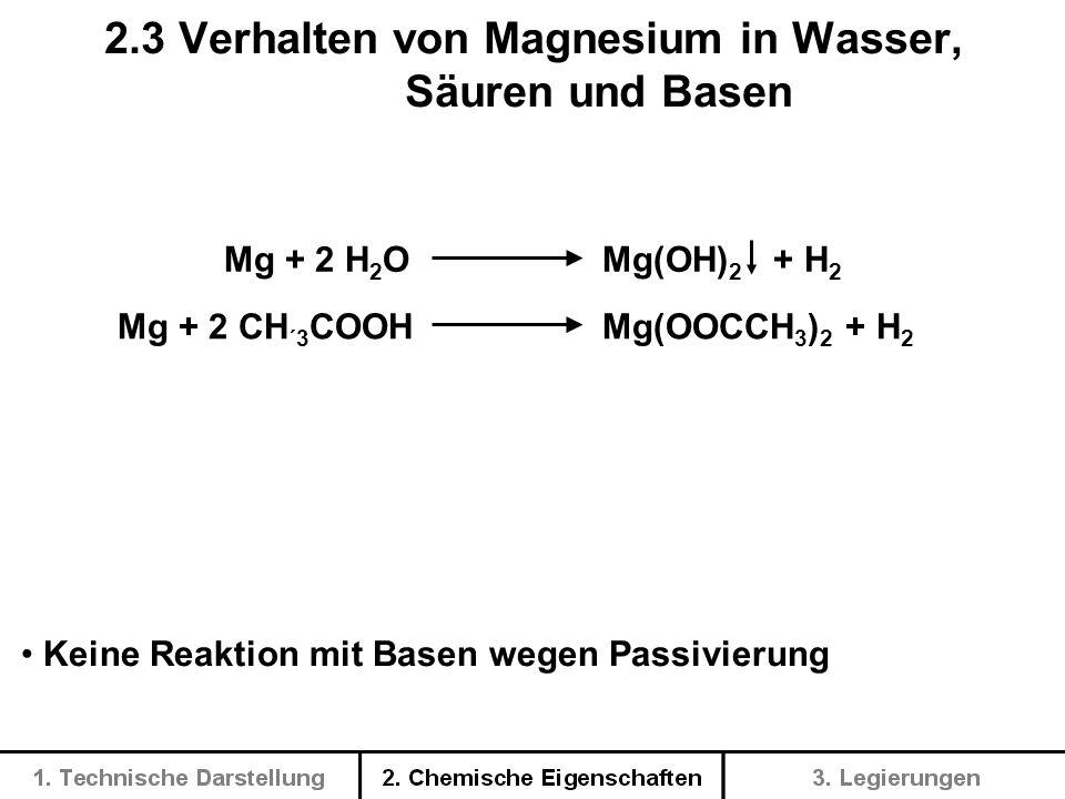 2.3 Verhalten von Magnesium in Wasser, Säuren und Basen