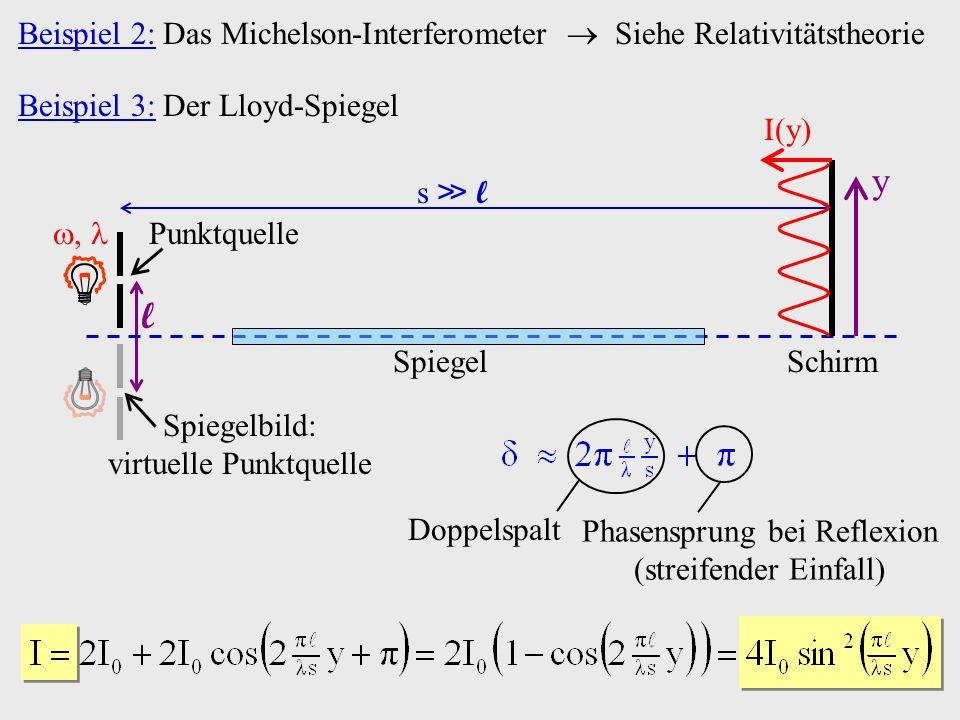 Beispiel 2: Das Michelson-Interferometer  Siehe Relativitätstheorie