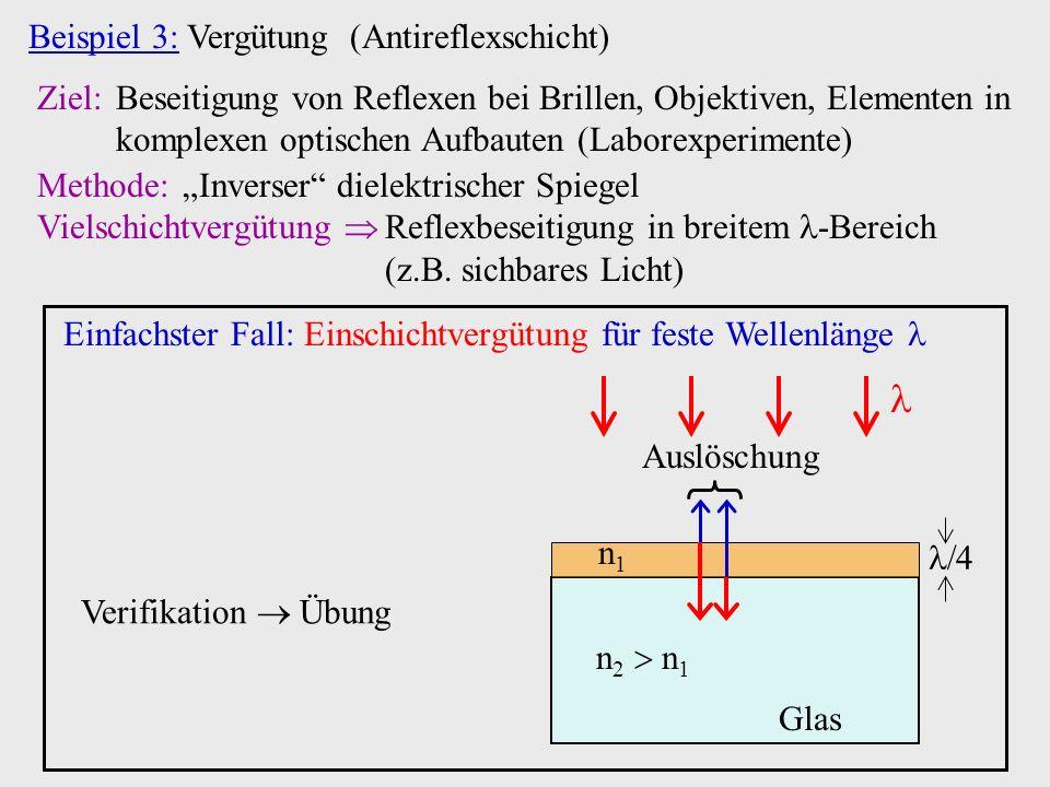  Beispiel 3: Vergütung (Antireflexschicht)