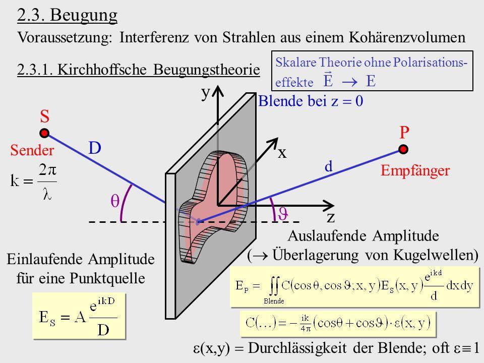 2.3. Beugung Voraussetzung: Interferenz von Strahlen aus einem Kohärenzvolumen. Skalare Theorie ohne Polarisations-
