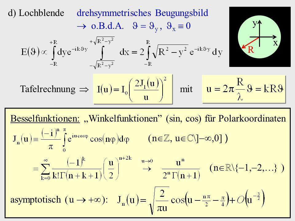 d) Lochblende drehsymmetrisches Beugungsbild.  o.B.d.A.   y , x  0. x. y. R. Tafelrechnung 