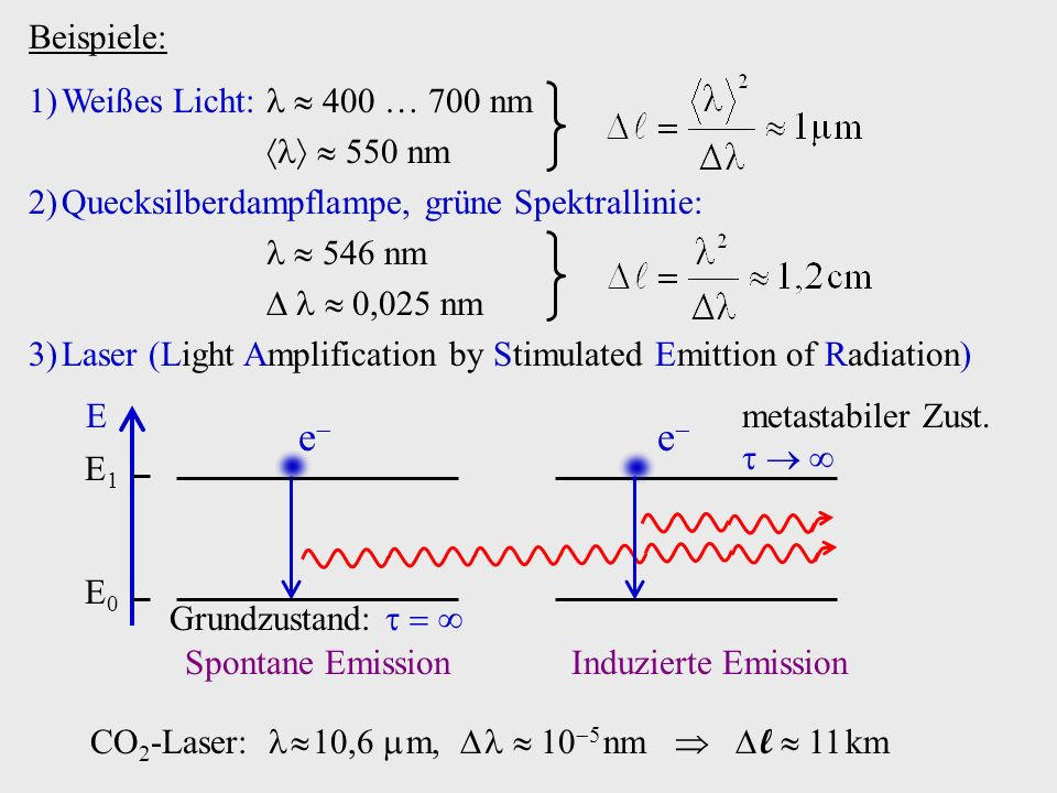 e Beispiele: Weißes Licht:   400  700 nm   550 nm