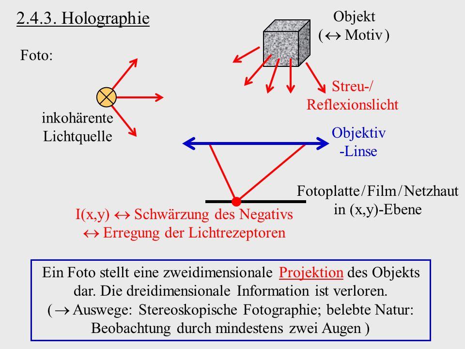 2.4.3. Holographie Objekt (  Motiv ) Foto: Streu-/ Reflexionslicht
