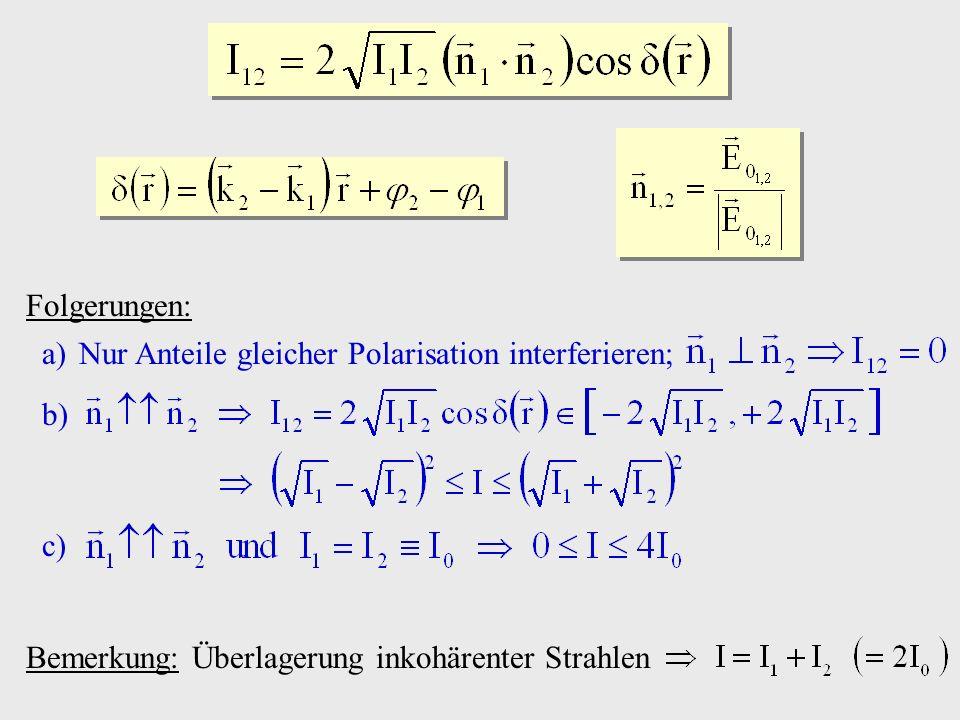Folgerungen: Nur Anteile gleicher Polarisation interferieren; Bemerkung: Überlagerung inkohärenter Strahlen.