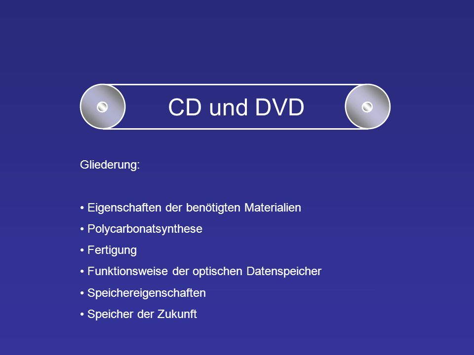 CD und DVD Gliederung: Eigenschaften der benötigten Materialien