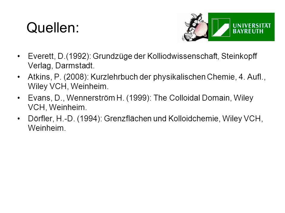 Quellen: Everett, D.(1992): Grundzüge der Kolliodwissenschaft, Steinkopff Verlag, Darmstadt.