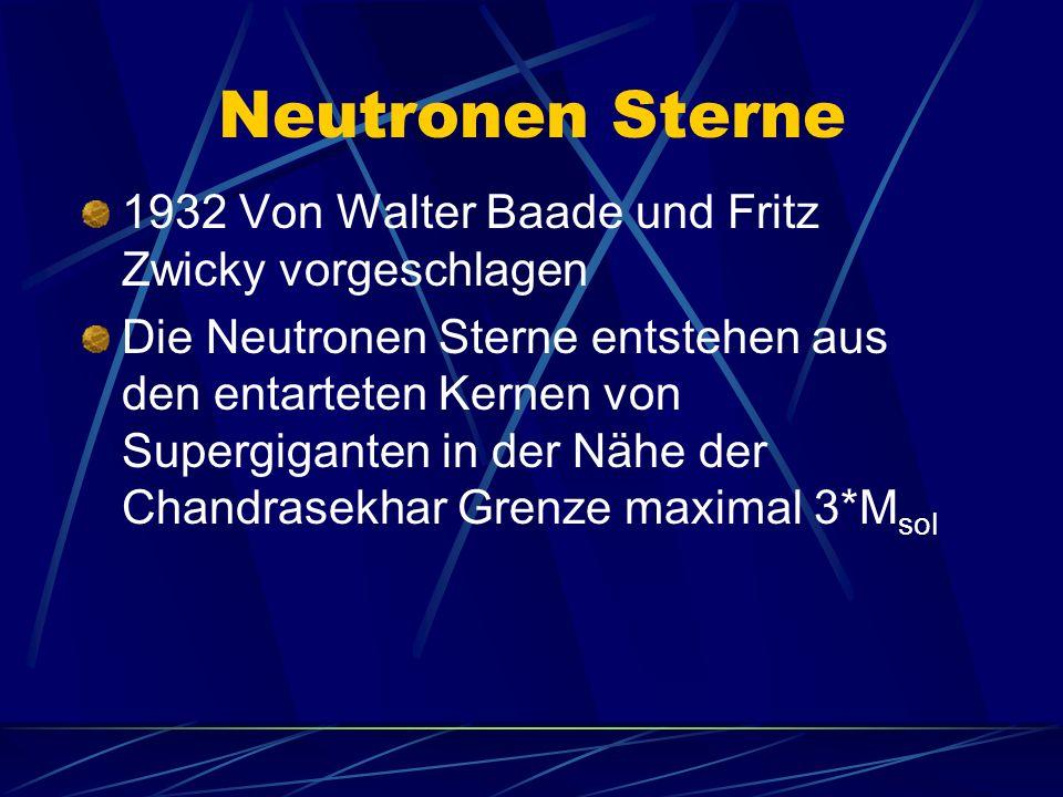 Neutronen Sterne 1932 Von Walter Baade und Fritz Zwicky vorgeschlagen