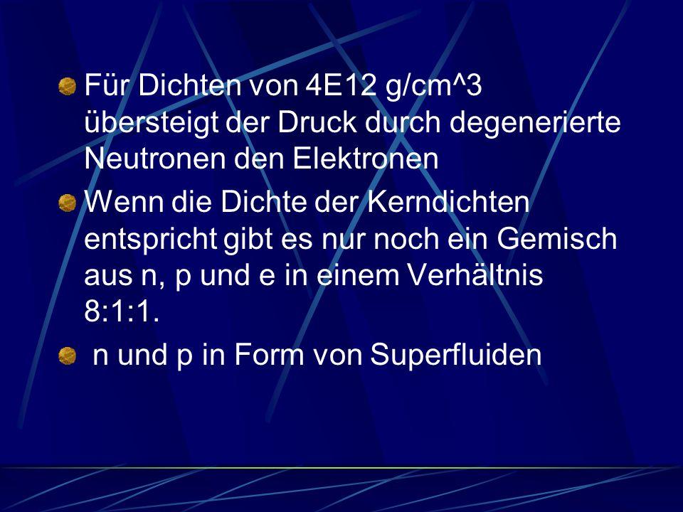 Für Dichten von 4E12 g/cm^3 übersteigt der Druck durch degenerierte Neutronen den Elektronen