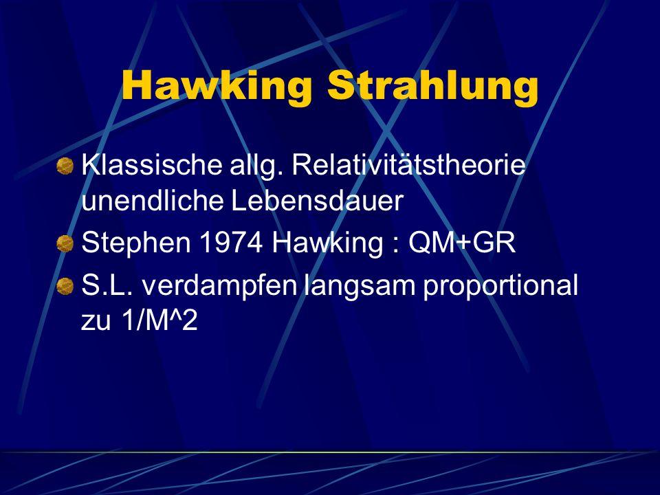 Hawking Strahlung Klassische allg. Relativitätstheorie unendliche Lebensdauer. Stephen 1974 Hawking : QM+GR.