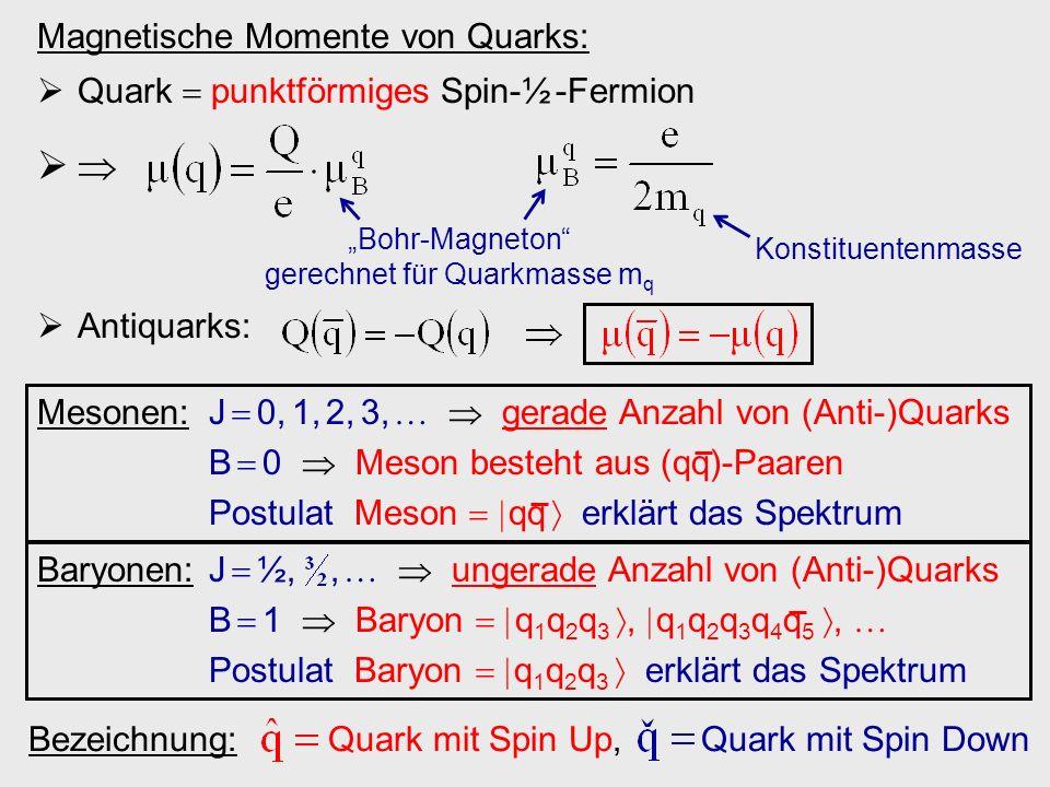 """""""Bohr-Magneton gerechnet für Quarkmasse mq"""