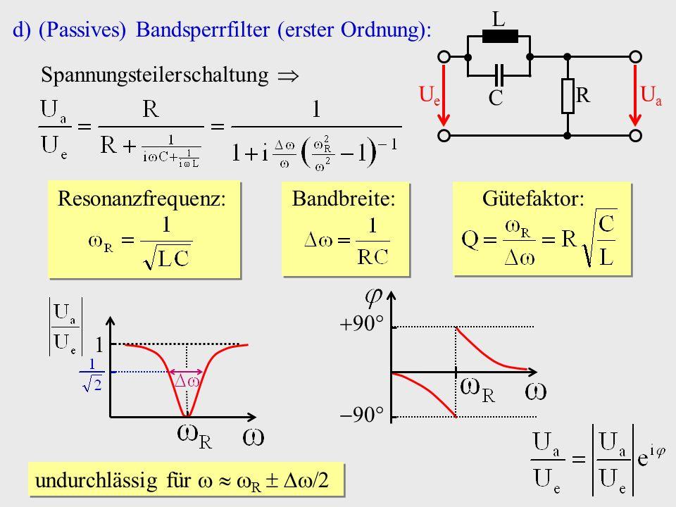 R C. Ue. Ua. L. (Passives) Bandsperrfilter (erster Ordnung): Spannungsteilerschaltung  Resonanzfrequenz: