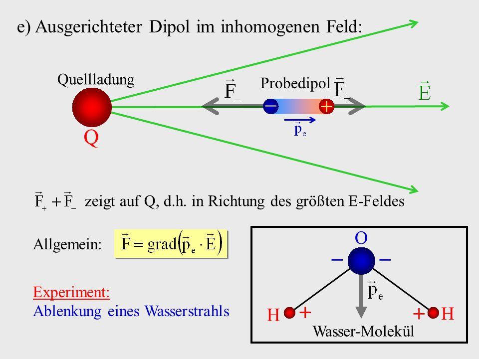   Q   e) Ausgerichteter Dipol im inhomogenen Feld: O H Quellladung