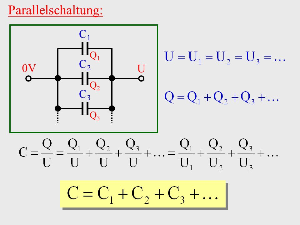 Parallelschaltung: C1 C2 C3 Q1 Q2 Q3 0V U