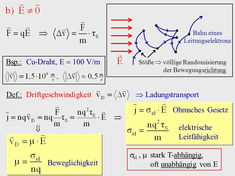 Def.: Driftgeschwindigkeit  Ladungstransport
