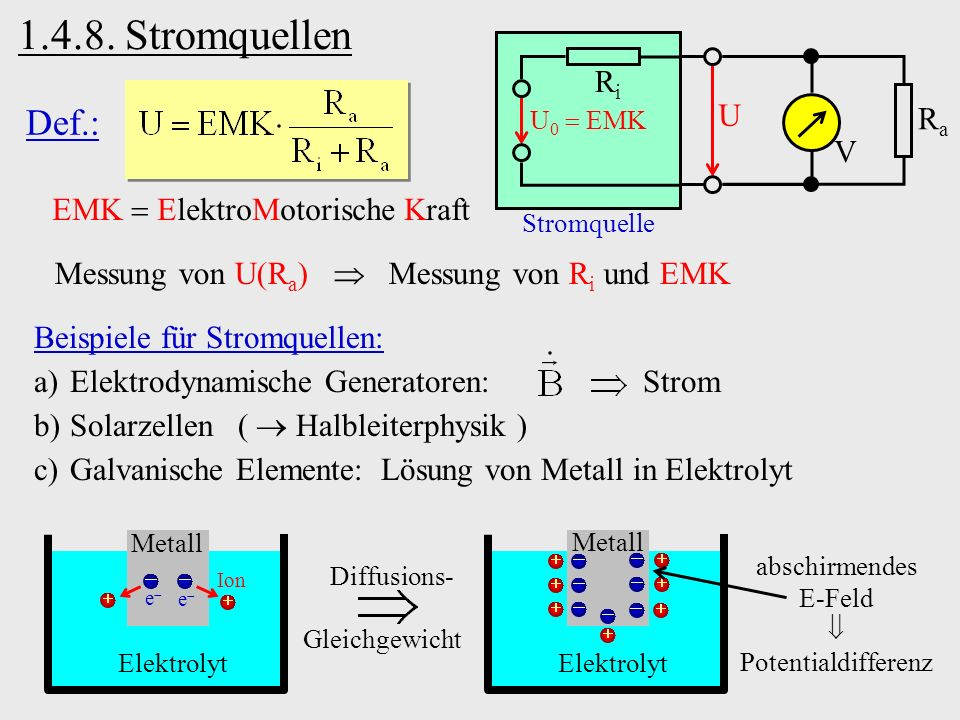 1.4.8. Stromquellen Def.: Ri U Ra V EMK  ElektroMotorische Kraft
