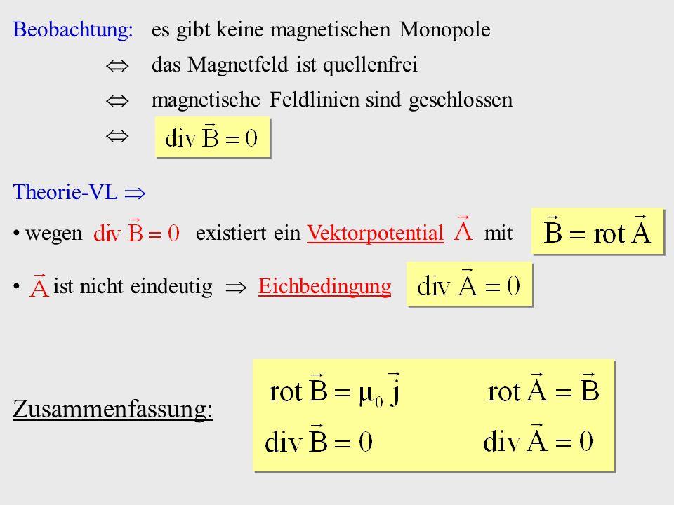 Zusammenfassung: Beobachtung: es gibt keine magnetischen Monopole