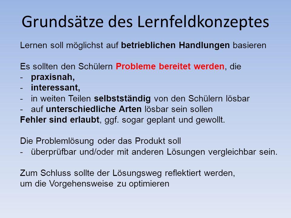 Grundsätze des Lernfeldkonzeptes
