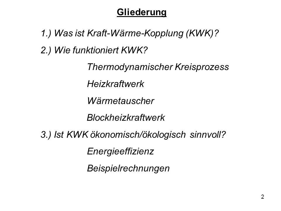 Gliederung 1.) Was ist Kraft-Wärme-Kopplung (KWK) 2.) Wie funktioniert KWK Thermodynamischer Kreisprozess.