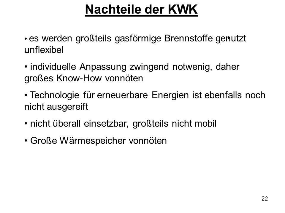 Nachteile der KWK es werden großteils gasförmige Brennstoffe genutzt unflexibel.