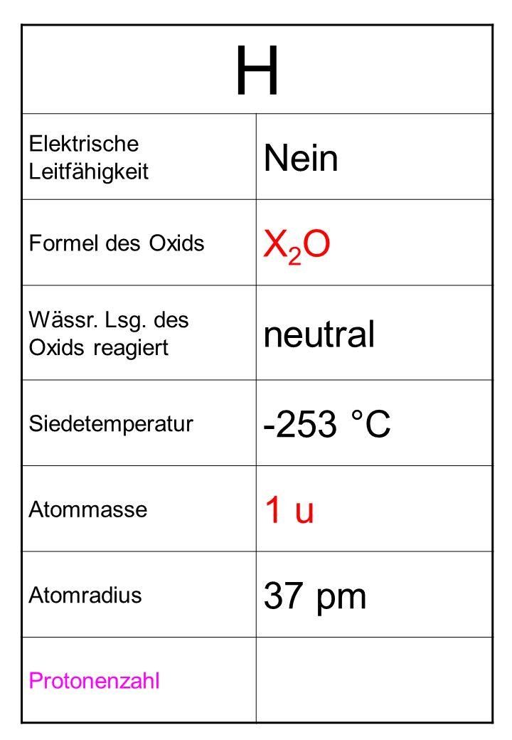 H Nein X2O neutral -253 °C 1 u 37 pm Elektrische Leitfähigkeit