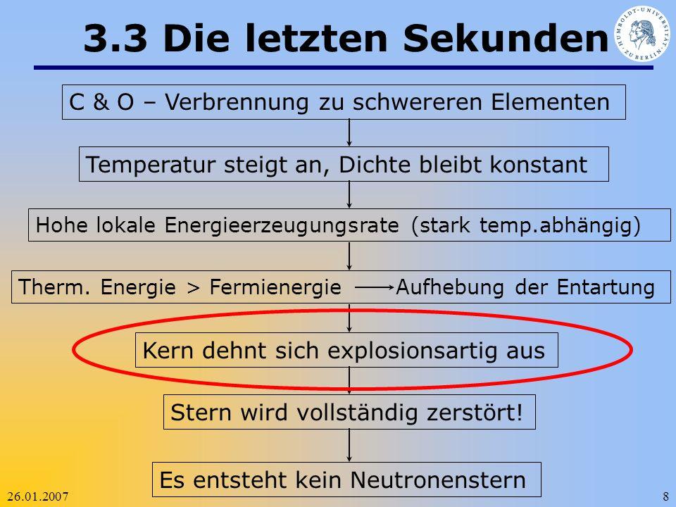 3.3 Die letzten Sekunden C & O – Verbrennung zu schwereren Elementen