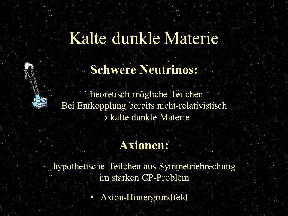Kalte dunkle Materie Schwere Neutrinos: Axionen: