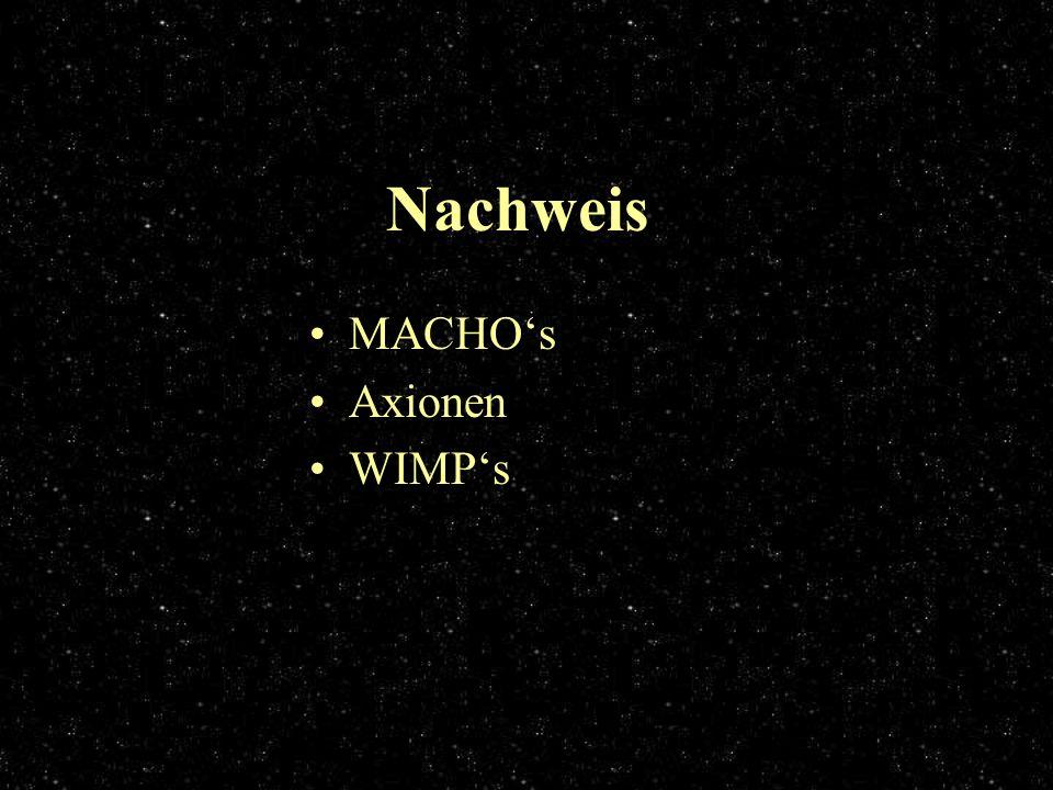 Nachweis MACHO's Axionen WIMP's
