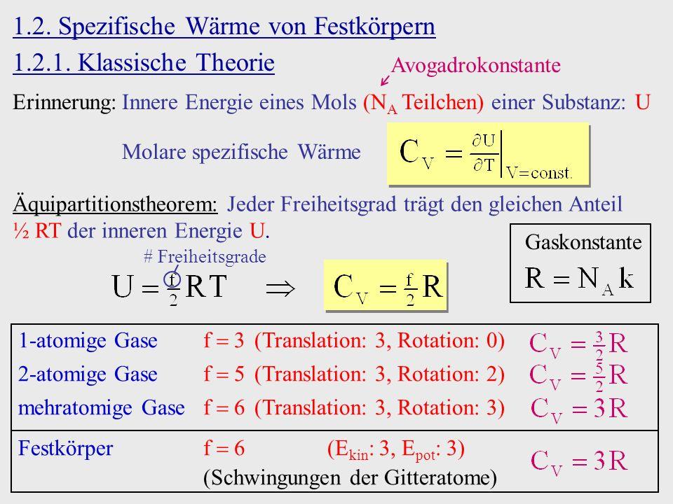 1.2. Spezifische Wärme von Festkörpern 1.2.1. Klassische Theorie