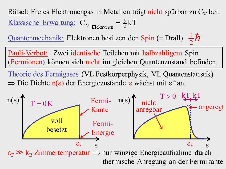 Rätsel: Freies Elektronengas in Metallen trägt nicht spürbar zu CV bei.