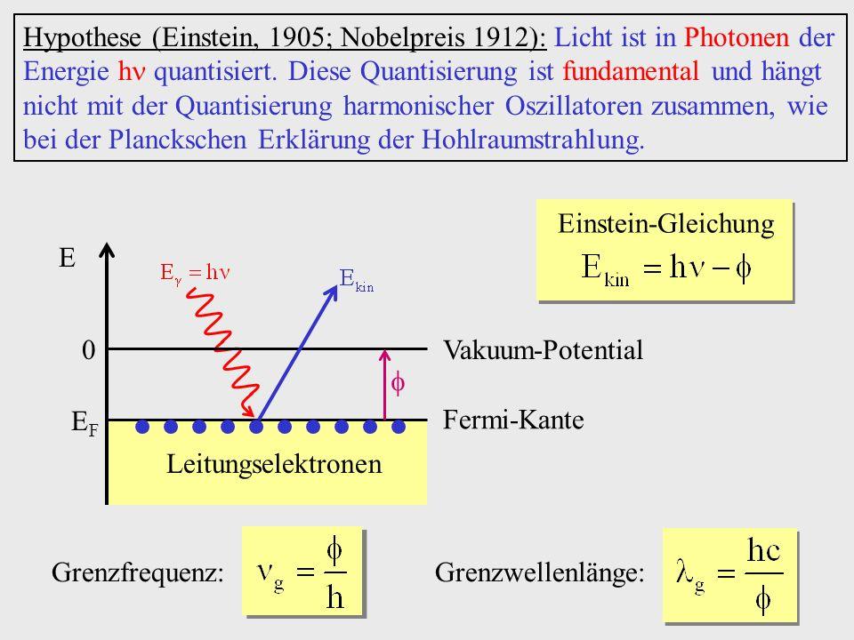 Hypothese (Einstein, 1905; Nobelpreis 1912): Licht ist in Photonen der Energie h quantisiert. Diese Quantisierung ist fundamental und hängt nicht mit der Quantisierung harmonischer Oszillatoren zusammen, wie bei der Planckschen Erklärung der Hohlraumstrahlung.