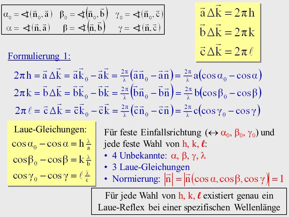 Formulierung 1: Laue-Gleichungen: Für feste Einfallsrichtung ( 0, 0, 0) und jede feste Wahl von h, k, l: