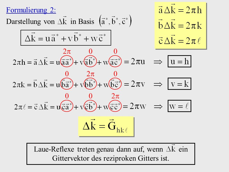 Formulierung 2: Darstellung von in Basis. 2 2