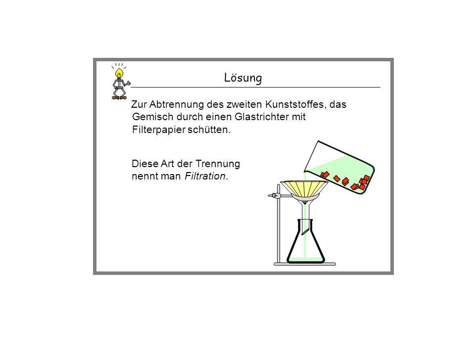 Lösung Zur Abtrennung des zweiten Kunststoffes, das Gemisch durch einen Glastrichter mit Filterpapier schütten.
