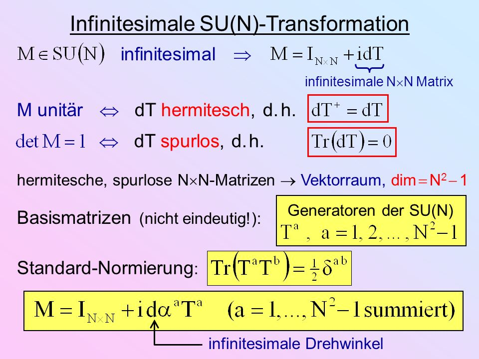 Infinitesimale SU(N)-Transformation