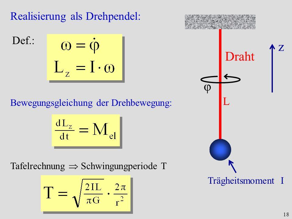 z Draht φ Realisierung als Drehpendel: Def.: L