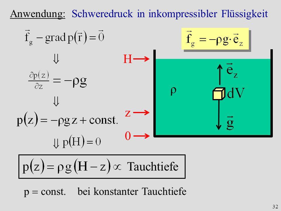 Anwendung: Schweredruck in inkompressibler Flüssigkeit