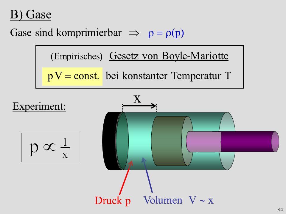 x B) Gase Gase sind komprimierbar    p