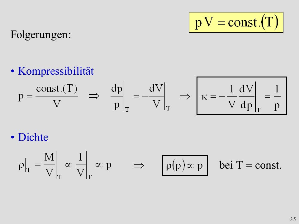Folgerungen: Kompressibilität Dichte bei T  const.