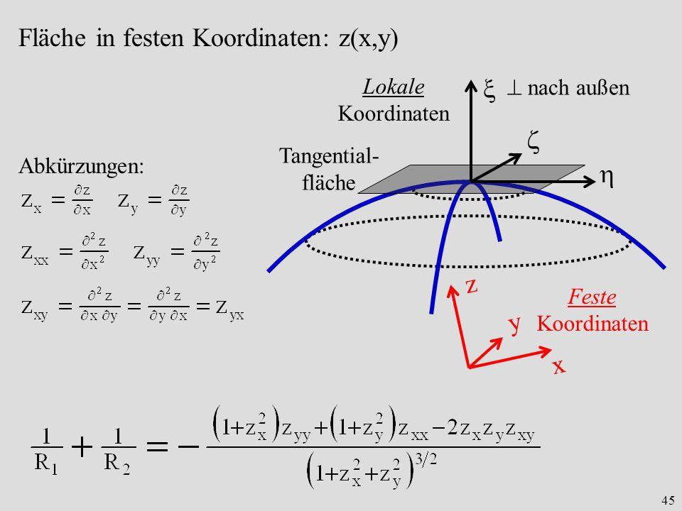 Fläche in festen Koordinaten: z(x,y)