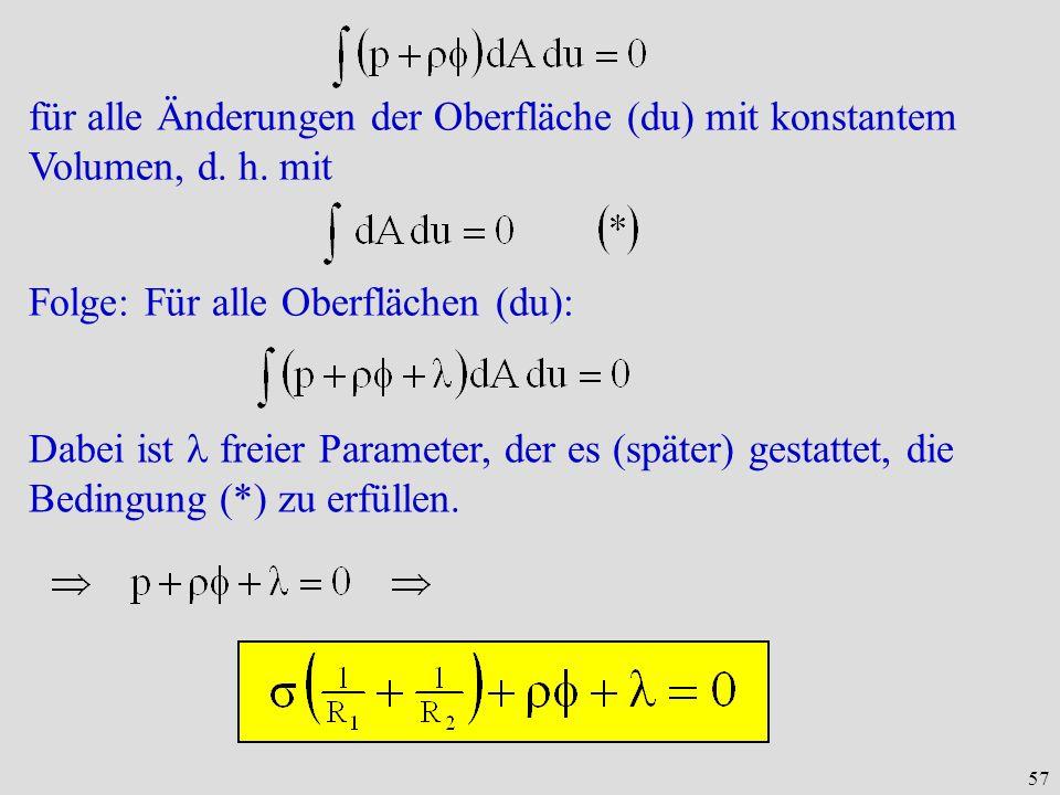 für alle Änderungen der Oberfläche (du) mit konstantem Volumen, d. h