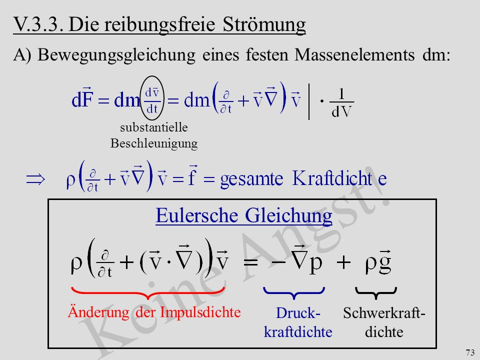 Keine Angst! V.3.3. Die reibungsfreie Strömung Eulersche Gleichung