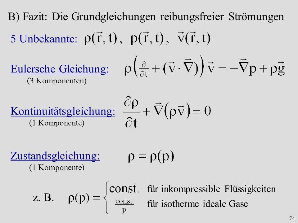 B) Fazit: Die Grundgleichungen reibungsfreier Strömungen