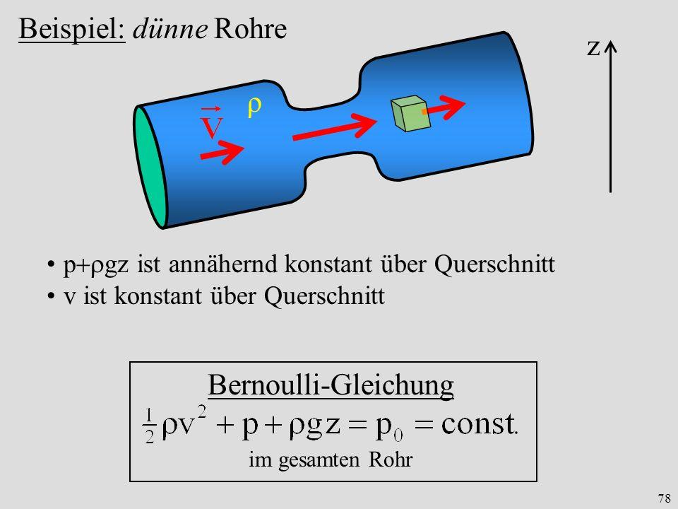 Beispiel: dünne Rohre z ρ Bernoulli-Gleichung