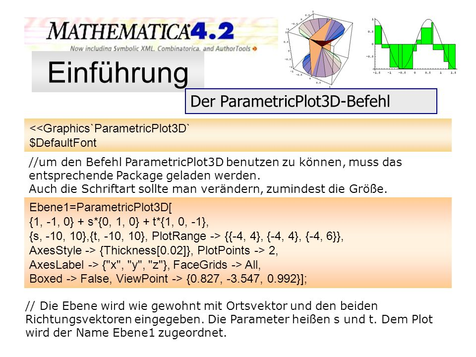 Einführung Der ParametricPlot3D-Befehl