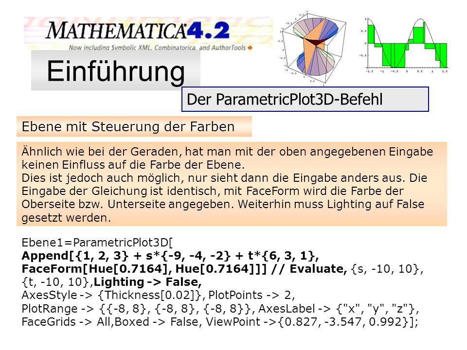 Einführung Der ParametricPlot3D-Befehl Ebene mit Steuerung der Farben