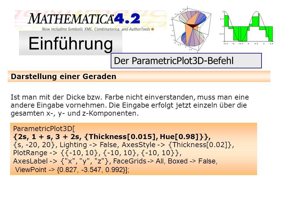 Einführung Der ParametricPlot3D-Befehl Darstellung einer Geraden