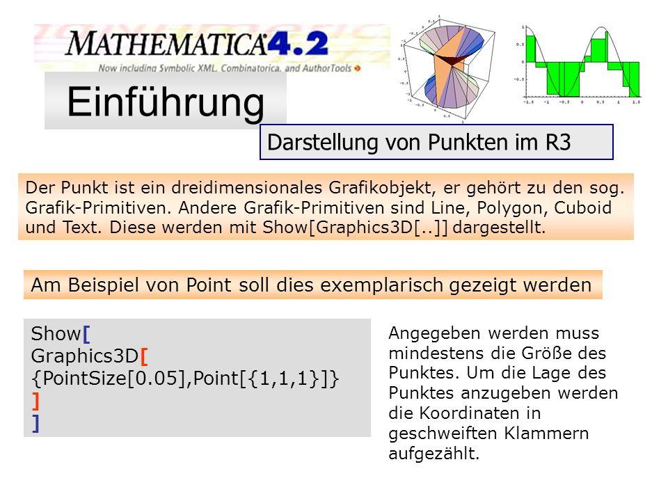 Einführung Darstellung von Punkten im R3