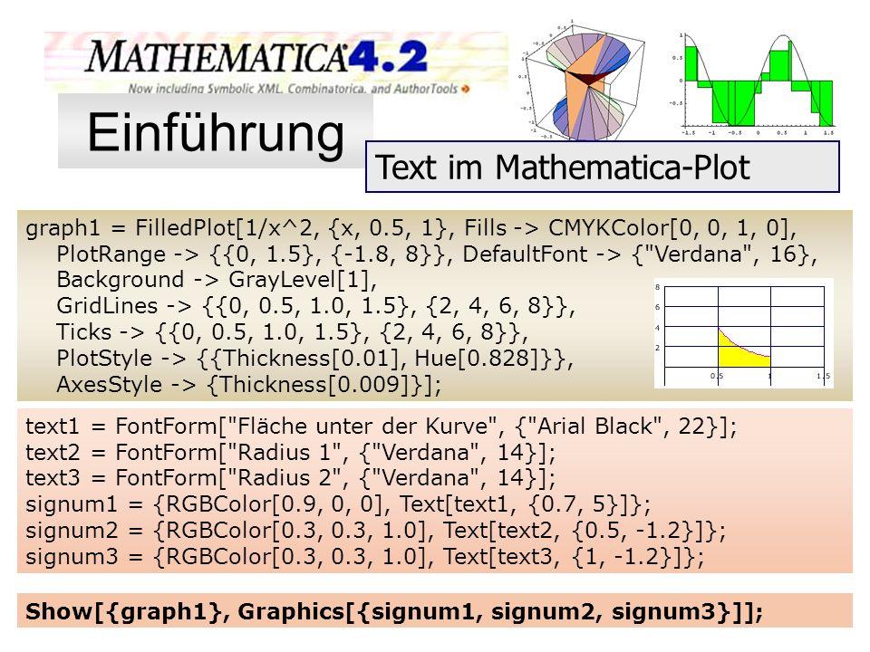 Einführung Text im Mathematica-Plot