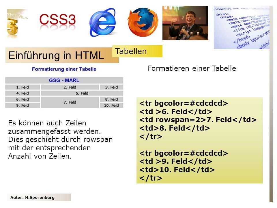 Einführung in HTML Tabellen Formatieren einer Tabelle
