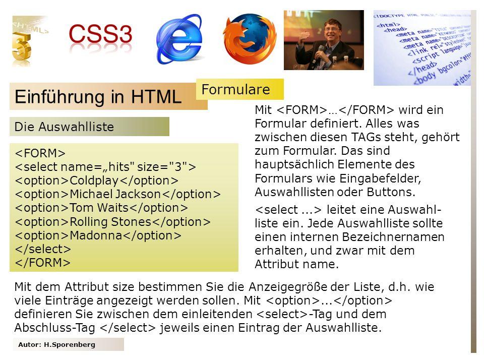 Einführung in HTML Formulare Die Auswahlliste